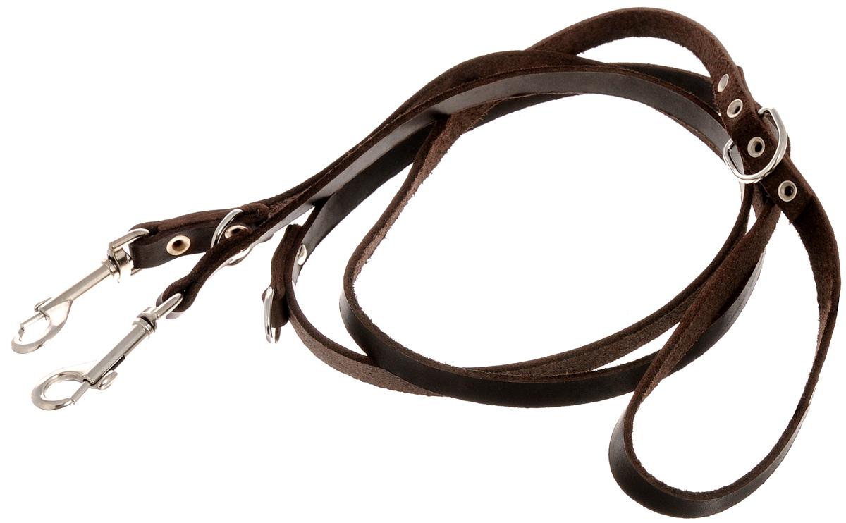 Поводок для собак Каскад Классика, переменной длины, цвет: темно-коричневый, ширина 1,2 см, длина 115-185 см02012001кПоводок для собак Каскад Классика изготовлен из кожи и снабжен 2 металлическими карабинами. Поводок отличается не только исключительной надежностью и удобством, но и ярким дизайном. Он идеально подойдет для активных собак, для прогулок на природе и охоты. Поводок - необходимый аксессуар для собаки. Ведь в опасных ситуациях именно он способен спасти жизнь вашему любимому питомцу. Так же поводок можно использовать одновременно для двух собак. Общая длина поводка: 185 см. Минимальная длина поводка: 115 см. Ширина поводка: 1,2 см.