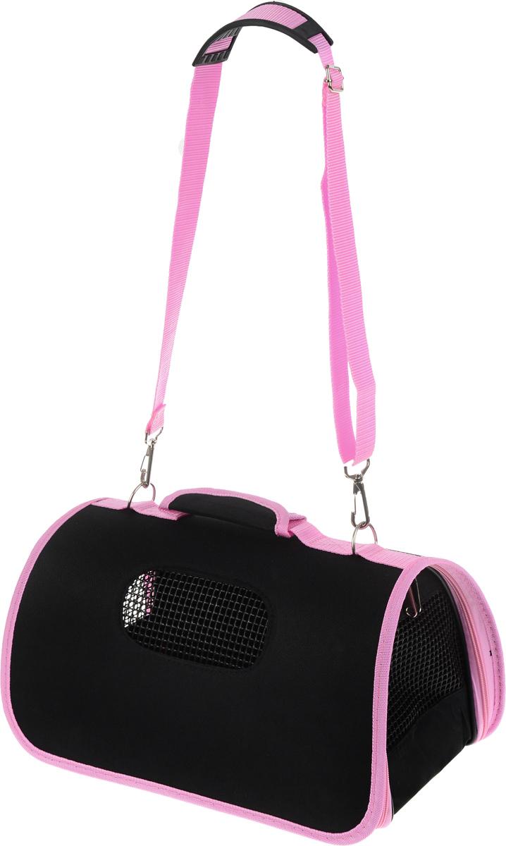 Сумка-переноска для животных Каскад, складная, цвет: черный, розовый, 36 х 22 х 22 см0120710Сумка-переноска Каскад подходит для собак мелких пород и кошек. Изделие выполнено из плотного материала и текстиля, а также имеет сборную-разборную конструкцию. Закрывается при помощи застежки-молнии по кругу. Сумка внутри оснащена съемной подстилкой и поводком для безопасности питомца. Снабжена специальными сетчатыми резиновыми вставками, чтобы ваш любимец мог дышать. Для удобной переноски имеются ручка ирегулируемая по длине съемная лямка со специальной накладкой. На дне закреплены четыре пластиковые ножки.При необходимости сумка складывается и фиксируется липучкой. Сумка-переноска Каскад обязательно понравится вашим домашним любимцам и сделает любую поездку наиболее комфортной.Размер сумки (в сложенном виде): 36 х 22 х 13 см. Размер сумки (в разложенном виде): 36 х 22 х 22 см.