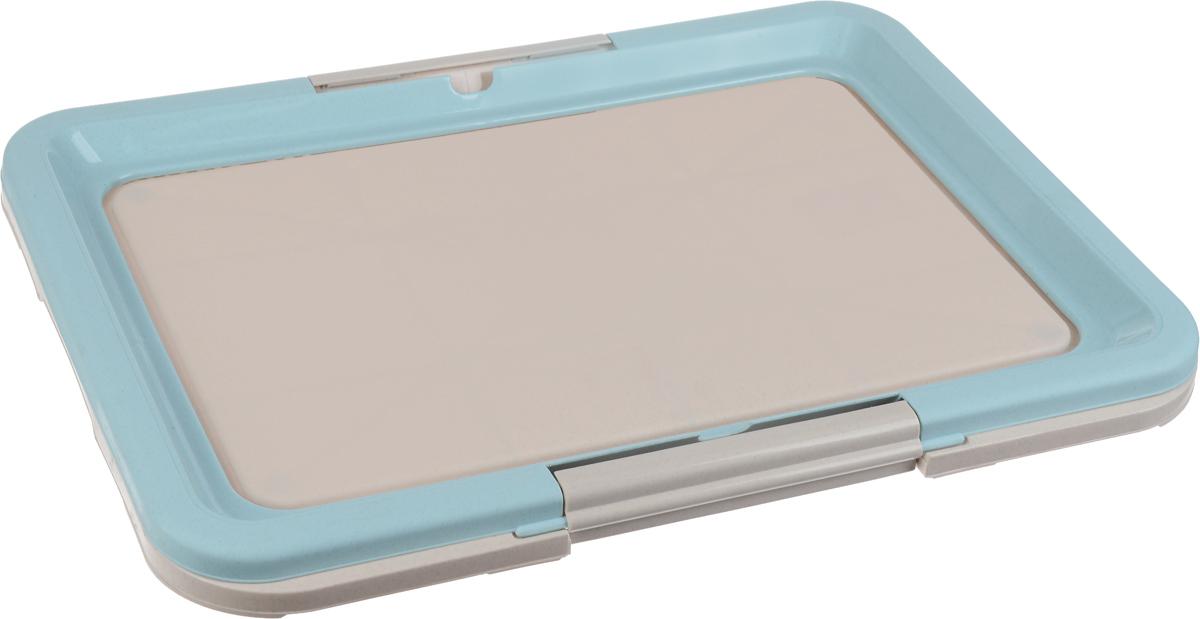 Туалет для собак Каскад, под пеленки, цвет: серый, голубой, 63 х 48 х 4 см9312222_серый, голубойТуалет Каскад, изготовленный из высококачественного пластика, предназначен для собак и щенков. Гигиеническая пеленка помещается под борт и удерживается боковыми фиксаторами. Туалет легко моется водой. Гигиеническая пеленка в комплект не входит.