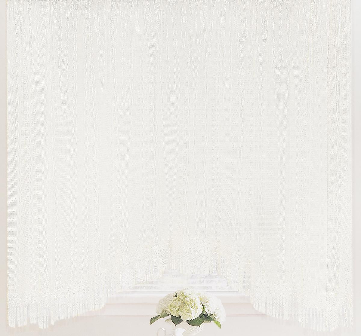 Штора-арка ТД Текстиль Капли росы, на ленте, цвет: белый, высота 165 см82650Штора-арка ТД Текстиль Капли росы великолепно украсит любое окно. Штора выполнена из качественного сетчатого полиэстера и декорирована бахромой. Полупрозрачная ткань, оригинальный дизайн и приятная цветовая гамма привлекут к себе внимание и позволят шторе органично вписаться в интерьер помещения. Штора крепится на карниз при помощи шторной ленты, которая поможет красиво и равномерно задрапировать верх. Изделие отлично подходит для кухни, столовой, спальни.