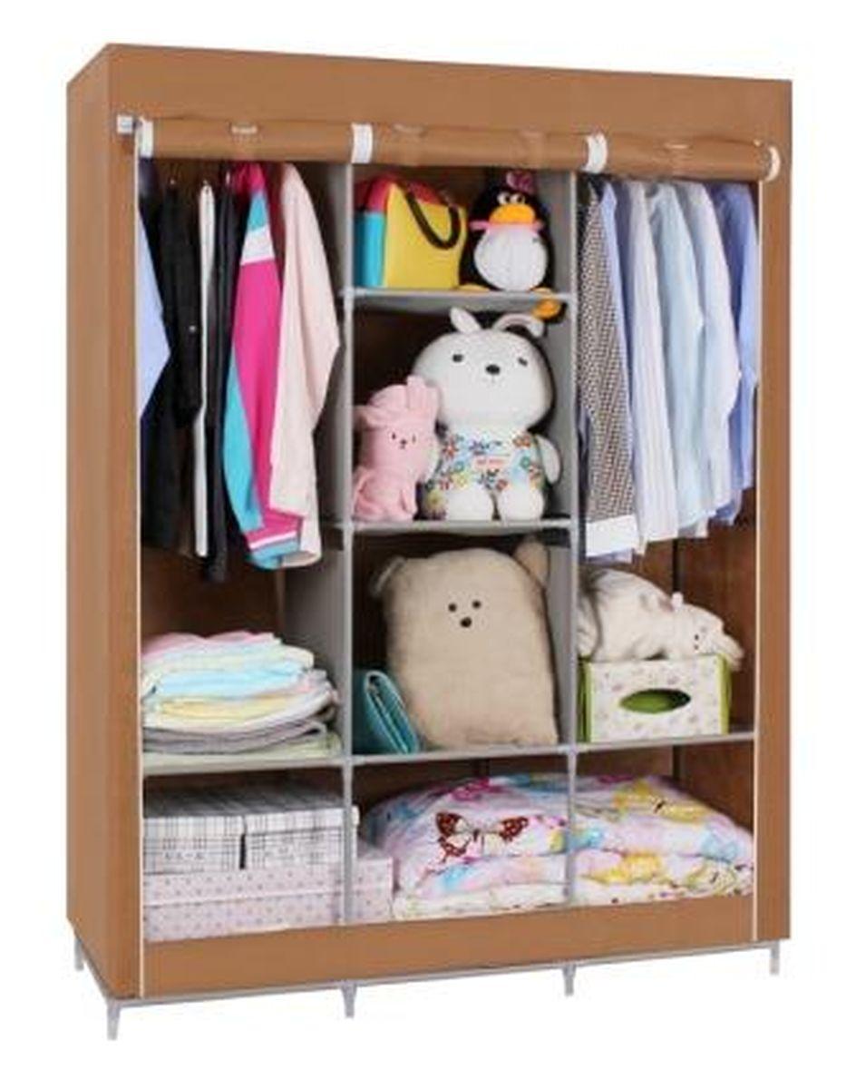 Шкаф Homsu Онтарио, цвет: коричневый, 130 x 45 x 172 смUP210DFШкаф Homsu Онтарио выполнен из текстиля. Сборная конструкция такого шкафа состоит из металлических деталей каркаса, обтянутых сверху прочной и легкой тканью. Этот шкаф предназначен в создании полноценного порядка. Изделие имеет 6 полок для складывания одежды 40 х 45 см и двумя отделениями для подвешивания одежды. Кроме своей большой практичной пользы, данный мебельный предмет также сможет очень выгодно дополнить имеющийся интерьер в помещении. Верхняя тканевая обивка, при этом, всегда может быть легко и быстро снята, если ее необходимо будет постирать или заменить.