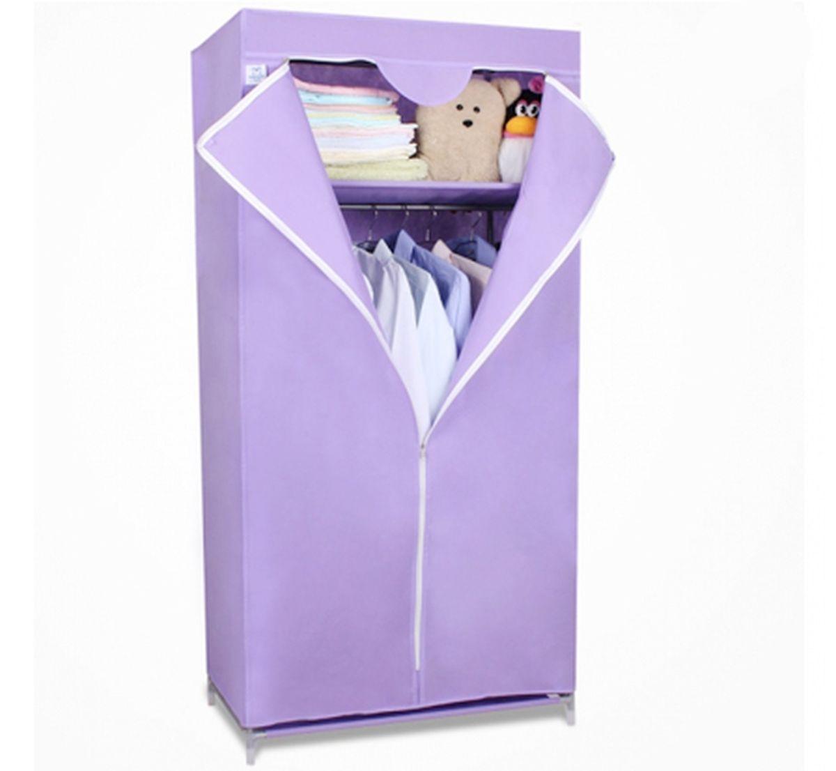 Шкаф Homsu Кармэн, цвет: фиолетовый, 68 x 45 x 155 смHOM-107Шкаф Homsu Кармэн выполнен из текстиля. Сборная конструкция такого шкафа состоит из металлических деталей каркаса, обтянутых сверху прочной и легкой тканью. Этот шкаф предназначен в создании полноценного порядка. Изделие имеет удобную полку для складывания одежды 65 х 45 см и перекладину той же ширины для подвешивания курток, пальто, рубашек, свитеров и других вещей. Кроме своей большой практичной пользы, данный мебельный предмет также сможет очень выгодно дополнить имеющийся интерьер в помещении. Верхняя тканевая обивка, при этом, всегда может быть легко и быстро снята, если ее необходимо будет постирать или заменить.