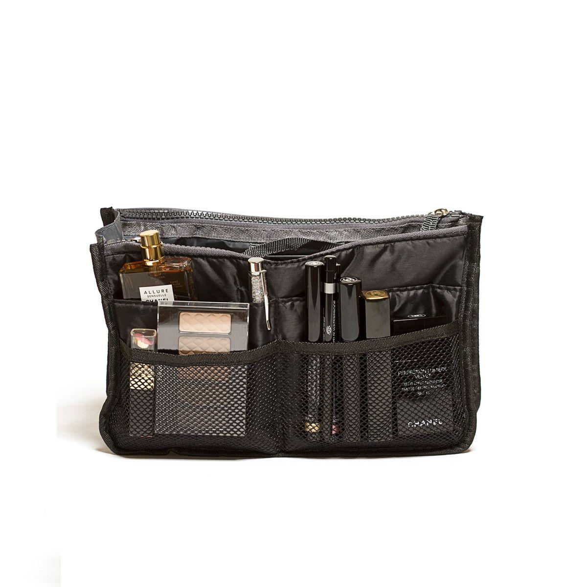 Органайзер для сумки Homsu, цвет: черный, 30 x 8,5 x 18,5 смHOM-140Этот органайзер для сумки благодаря трем вместительным отделениям для вещей, четырем кармашкам по бокам и шести кармашкам в виде сетки обеспечит полный порядок в вашей сумке. Кроме того, изделие обладает интересным стилем, выполнено в черном цвете и оснащёно двумя крепкими ручками, что позволяет применять его и вне сумки, как отдельный аксессуар. Фактический цвет может отличаться от заявленного.
