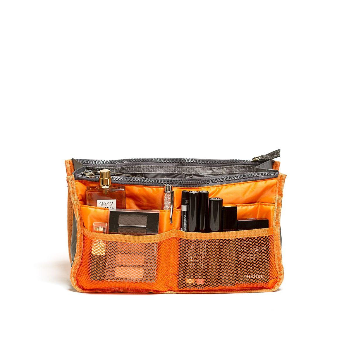 Органайзер для сумки Homsu, цвет: оранжевый, 30 x 8,5 x 18,5 смZ-0307Органайзер для сумки Homsu выполнен из полиэстера и текстиля. Этот органайзер для сумки имеет три вместительных отделениях для вещей, четыре кармашка по бокам и шесть кармашков в виде сетки. Такой органайзер обеспечит полный порядок в вашей сумке. Данный аксессуар обладает быстрой регулировкой толщины с помощью кнопок. Органайзер оснащен двумя крепкими ручками, что позволяет применять его и вне сумки.