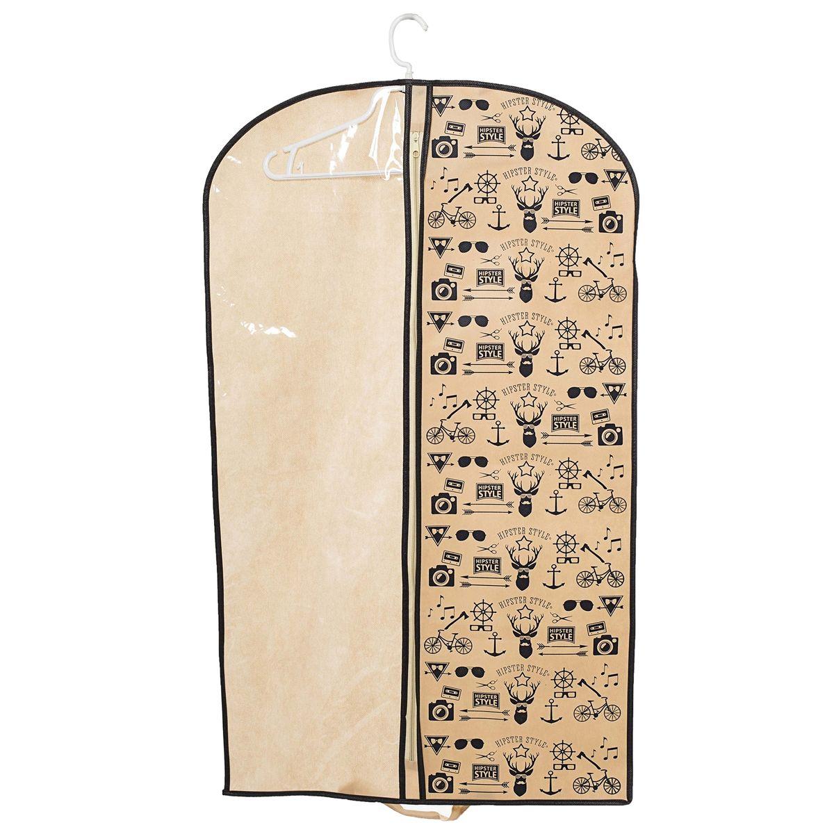 Чехол для одежды Homsu Hipster Style, подвесной, с прозрачной вставкой, 100 x 60 смHOM-200Подвесной чехол для одежды Homsu Hipster Style на застежке-молнии выполнен из высококачественного нетканого материала. Чехол снабжен прозрачной вставкой из ПВХ, что позволяет легко просматривать содержимое. Изделие подходит для длительного хранения вещей. Чехол обеспечит вашей одежде надежную защиту от влажности, повреждений и грязи при транспортировке, от запыления при хранении и проникновения моли. Чехол позволяет воздуху свободно поступать внутрь вещей, обеспечивая их кондиционирование. Это особенно важно при хранении кожаных и меховых изделий. Чехол для одежды Homsu Hipster Style создаст уютную атмосферу в гардеробе. Лаконичный дизайн придется по вкусу ценительницам эстетичного хранения и сделают вашу гардеробную изысканной и невероятно стильной. Размер чехла: 100 х 60 см.