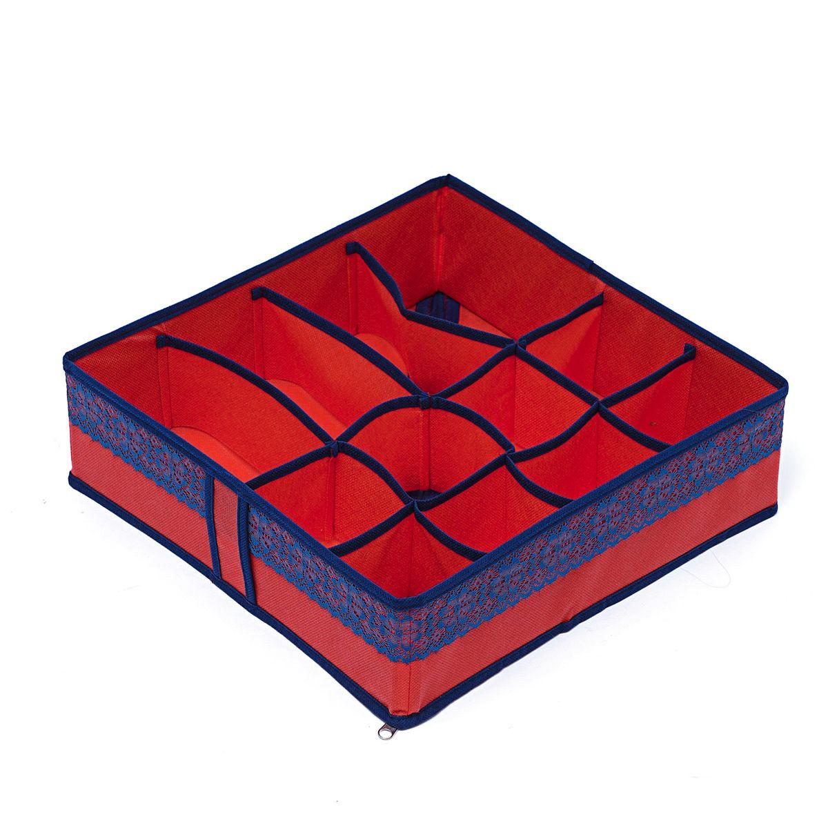Органайзер для хранения вещей Homsu Rosso, 12 ячеек , 35 х 35 х 10 смUP210DFКомпактный органайзер Homsu Rosso изготовлен из высококачественного полиэстера, который обеспечивает естественную вентиляцию. Материал позволяет воздуху свободно проникать внутрь, но не пропускает пыль. Органайзер отлично держит форму, благодаря вставкам из плотного картона. Изделие имеет 12 квадратных секций для хранения нижнего белья, колготок, носков и другой одежды.Такой органайзер позволит вам хранить вещи компактно и удобно, а оригинальный дизайн сделает вашу гардеробную красивой и невероятно стильной.
