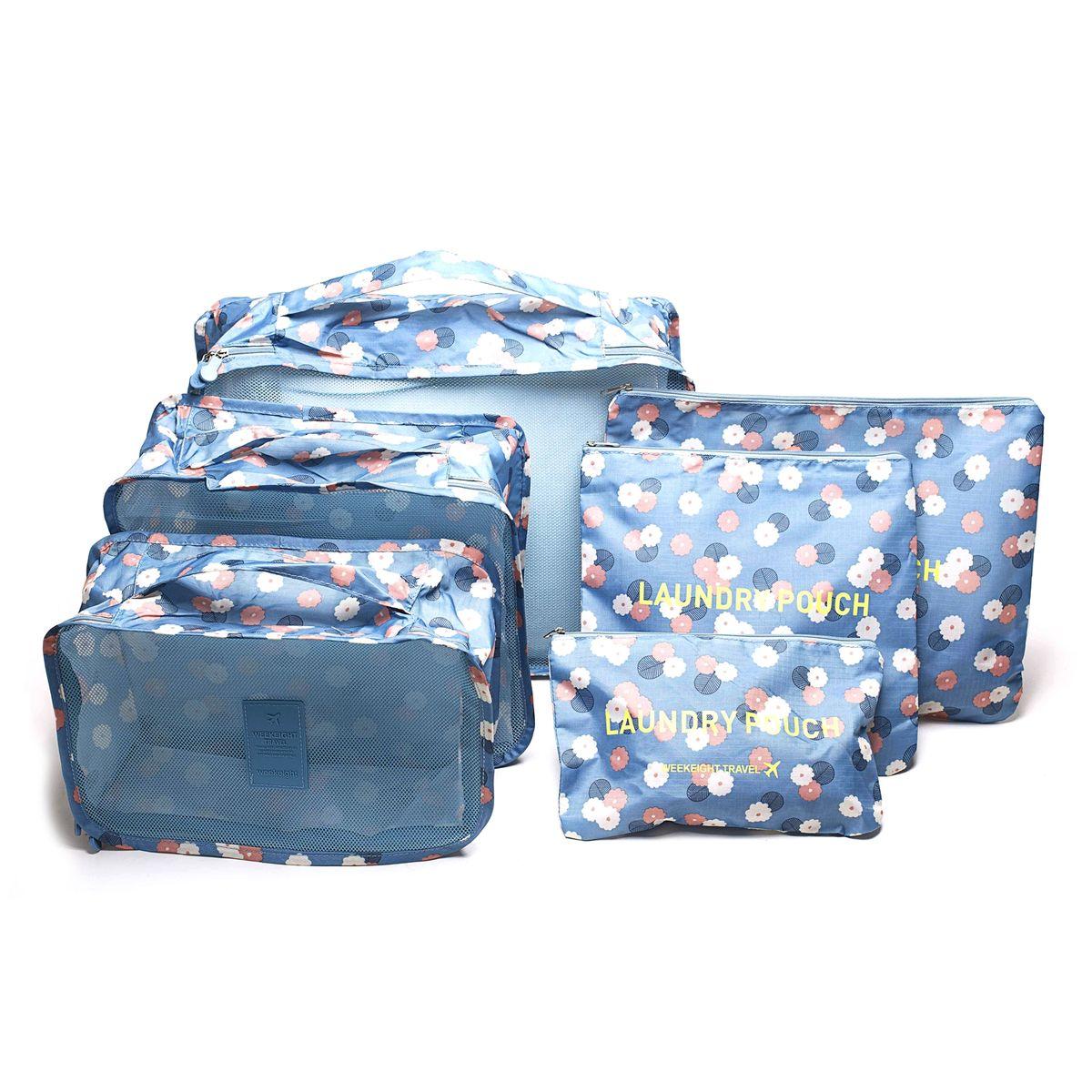 Набор органайзеров для багажа Homsu Цветок, цвет: синий, белый, розовый, 6 предметовHOM-346Набор органайзеров для багажа Homsu Цветок выполнен из полиэстера и оснащен молниями. В комплекте собраны органайзеры для бюстгальтеров, нижнего белья, носков, одежды, косметики. Вы сможете распределить все вещи, которые возьмете с собой таким образом, чтобы всегда иметь быстрый доступ к ним. Органайзеры надежно защитят от пыли, грязи, влажности или механических повреждений. Размеры органайзеров: 40 x 30 x 12 см; 30 x 28 x 13 см; 30 x 21 x 13 см; 35 x 27 см; 27 x 25 см; 26 x 16 см.