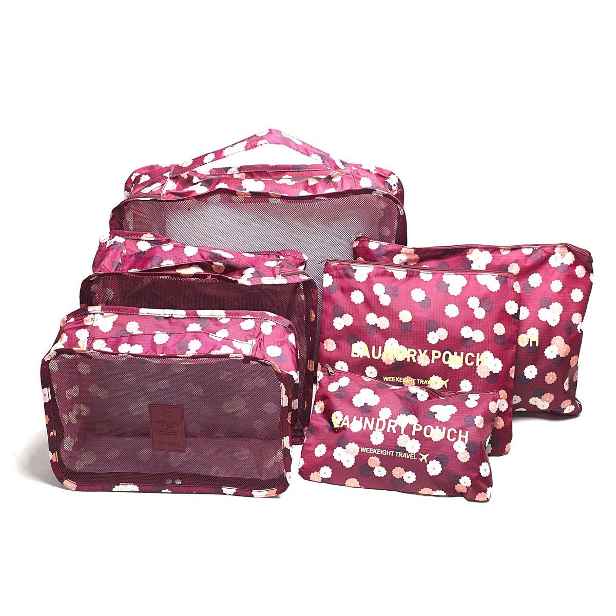 Набор органайзеров для багажа Homsu Цветок, цвет: бордовый, розовый, белый, 6 предметовHOM-348Набор органайзеров для багажа Homsu Цветок выполнен из полиэстера и оснащен молниями. В комплекте собраны органайзеры для бюстгальтеров, нижнего белья, носков, одежды, косметики. Вы сможете распределить все вещи, которые возьмете с собой таким образом, чтобы всегда иметь быстрый доступ к ним. Органайзеры надежно защитят от пыли, грязи, влажности или механических повреждений. Размеры органайзеров: 40 x 30 x 12 см; 30 x 28 x 13 см; 30 x 21 x 13 см; 35 x 27 см; 27 x 25 см; 26 x 16 см.