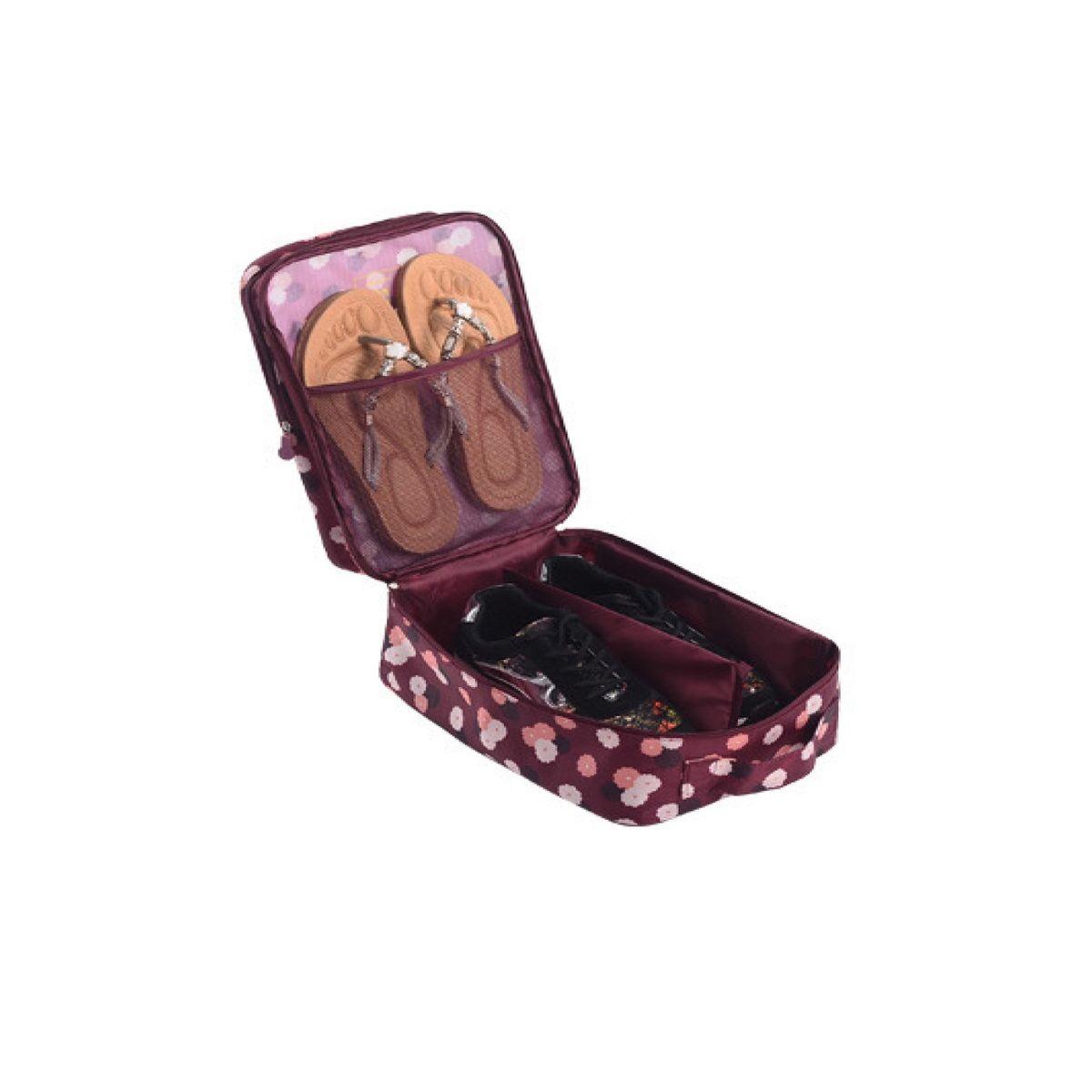 Органайзер для обуви Homsu Цветок, цвет: бордовый, белый, розовый, 32 x 20 x 13 смHOM-411Органайзер для обуви Homsu Цветок изготовлен из 100% полиэстера. Экономичная замена пластиковым пакетам и громоздким коробкам. Органайзер закрывается на молнию. Имеется ручка для удобной переноски. Внутри органайзер разделен на 2 отделения для обуви с дополнительным сетчатым кармашком. Очень компактный и очень удобный, такой органайзер поможет вам хранить обувь в чистоте и порядке. Размер: 32 х 20 х 13 см.