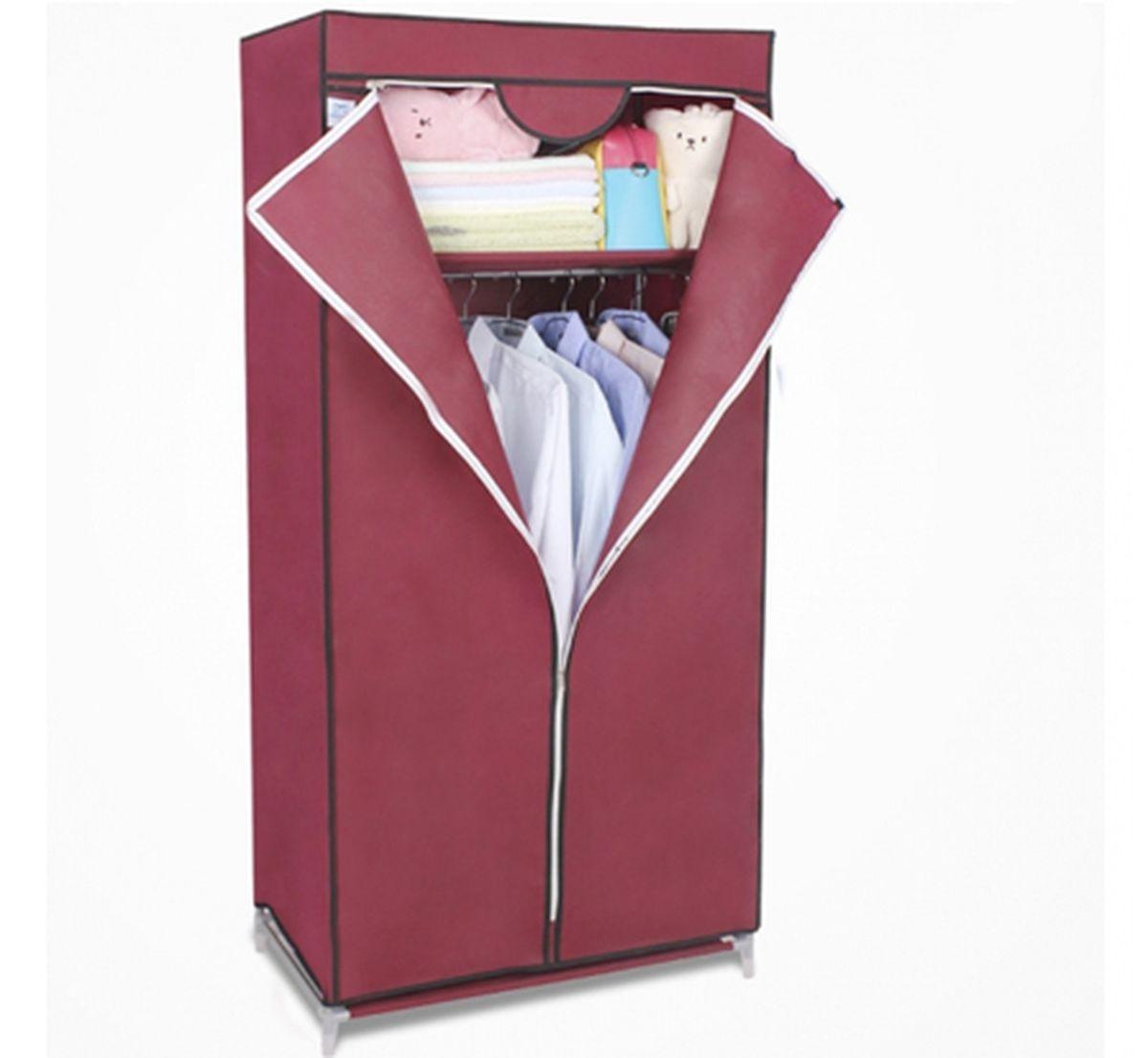 Шкаф Homsu Кармэн, цвет: бордовый, 68 x 45 x 155 смHOM-97Шкаф Homsu Кармэн выполнен из текстиля. Сборная конструкция такого шкафа состоит из металлических деталей каркаса, обтянутых сверху прочной и легкой тканью. Этот шкаф предназначен в создании полноценного порядка. Изделие имеет удобную полку для складывания одежды 65 х 45 см и перекладину той же ширины для подвешивания курток, пальто, рубашек, свитеров и других вещей. Кроме своей большой практичной пользы, данный мебельный предмет также сможет очень выгодно дополнить имеющийся интерьер в помещении. Верхняя тканевая обивка, при этом, всегда может быть легко и быстро снята, если ее необходимо будет постирать или заменить.