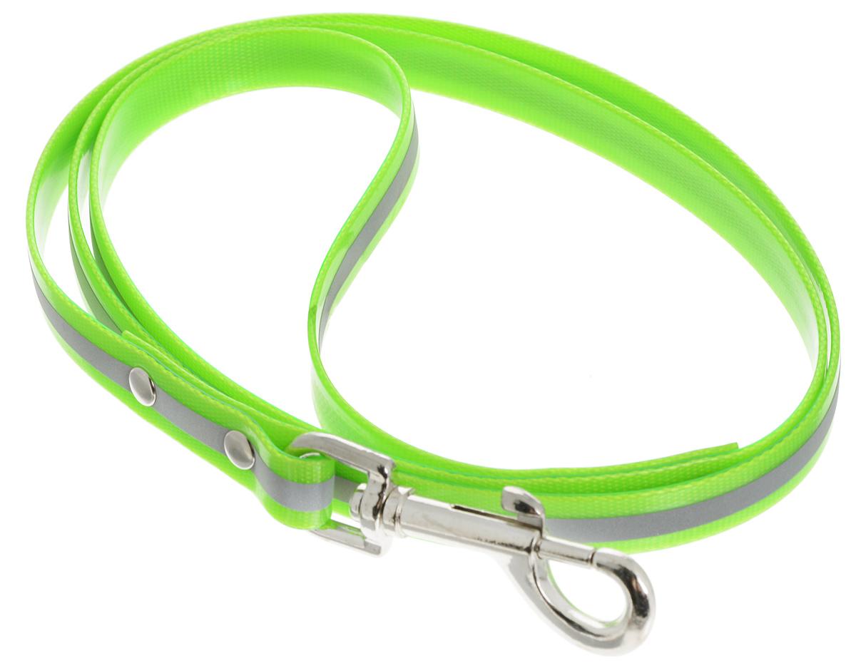 """Поводок для собак Каскад """"Синтетик"""", со светоотражающей полосой, цвет: салатовый, серебристый, ширина 1,5 см, длина 1,2 м 02615122-05"""