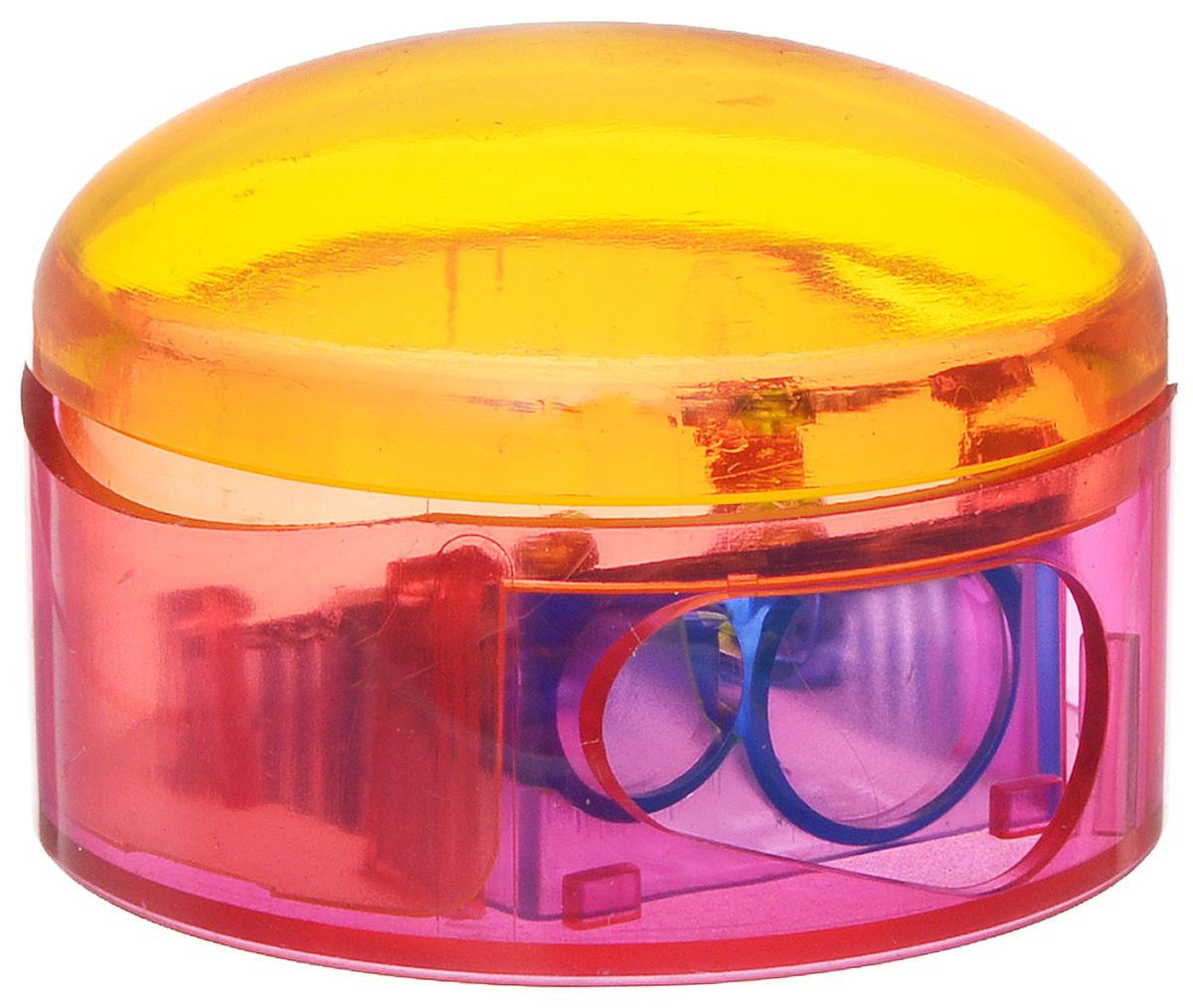 M+R Точилка Top Duo цвет оранжевый розовыйFS-54103Точилка M+R Top Duo выполнена из прочного пластика.В точилке имеются два отверстия для карандашей разного диаметра. Точилка подходит для различных видов карандашей. При повороте пластикового контейнера, отверстия закрываются.Полупрозрачный контейнер для сбора стружки позволяет визуально контролировать уровень заполнения и вовремя производить очистку.
