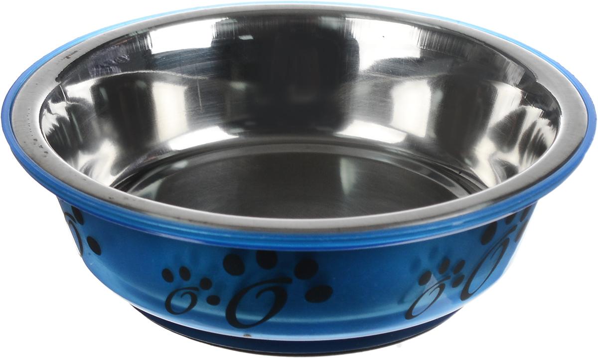 Миска для животных Каскад, цвет: синий, стальной, черный, 180 мл0120710Миска для животных Каскад, изготовленная извысококачественного пластика и нержавеющей стали, предназначена для корма и воды. Она порадует удобствомиспользования как самих животных, так и их хозяев. Яркий дизайн придаст изделию индивидуальность и удовлетворит вкус самых взыскательных зоовладельцев. Основание миски снабжено нескользящей резиновойвставкой, благодаря которой она устойчива на любойповерхности. Объем: 180 мл. Диаметр миски (по верхнему краю): 12 см.Диаметр основания: 8 см. Высота миски: 4 см.