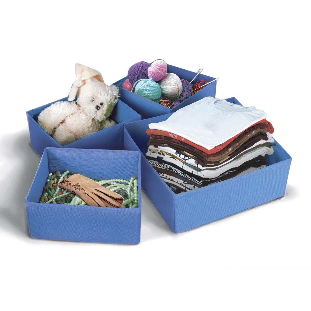 Набор коробок для хранения вещей Miolla, цвет: синий, 4 штCHL-8-1Набор Miolla состоит из 4 коробок разного размера для хранения различных вещей. Коробки выполнены из высококачественного нетканого материала, который не пропускает пыль, но при этом позволяет воздуху свободно проникать внутрь, обеспечивая естественную вентиляцию. Благодаря специальным картонным вставкам, коробки прекрасно держат форму. Особая конструкция позволяет при необходимости сложить или разложить коробку. Благодаря вместительности коробок вы сможете сэкономить место в вашем доме, и все вещи всегда будут в порядке. Размеры коробок: 26 х 26 х 8 см, 26 х 14 х 8 см, 20 х 16 х 8 см, 20 х 16 х 8 см.