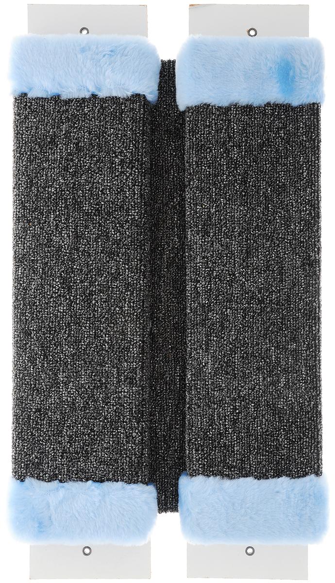 Когтеточка ЗооМарк, настенная, угловая, цвет: голубой, 57 х 30 х 3,5 см0120710Угловая когтеточка ЗооМарк предназначена для стачивания когтей вашей кошки и предотвращения их врастания. Волокна ковролина обеспечивает естественный уход за когтями питомца. Когтеточка позволяет сохранить неповрежденными мебель и другие предметы интерьера. Угловая когтеточка может крепиться на смежных поверхностях стен и пола.Длина когтеточки: 57 см.Длина одной рабочей части: 48 см.