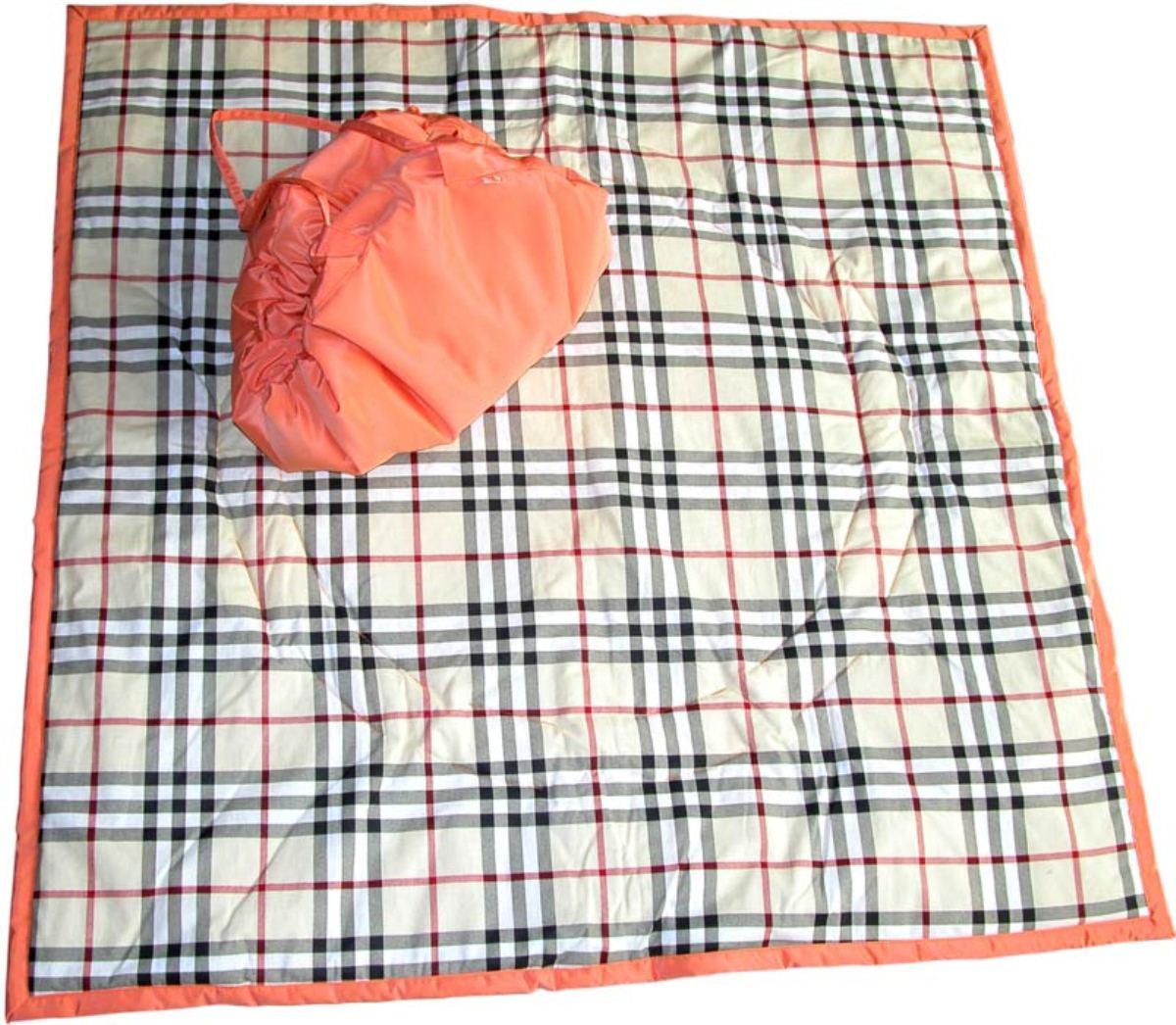 Чудо-Чадо Переносной коврик-сумка цвет оранжевый бежевая шотландка KTR02-006