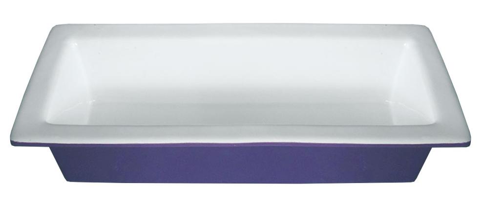 """Форма для запекания """"Calve"""", прямоугольная, керамическая, цвет: белый, фиолетовый, 750 мл"""