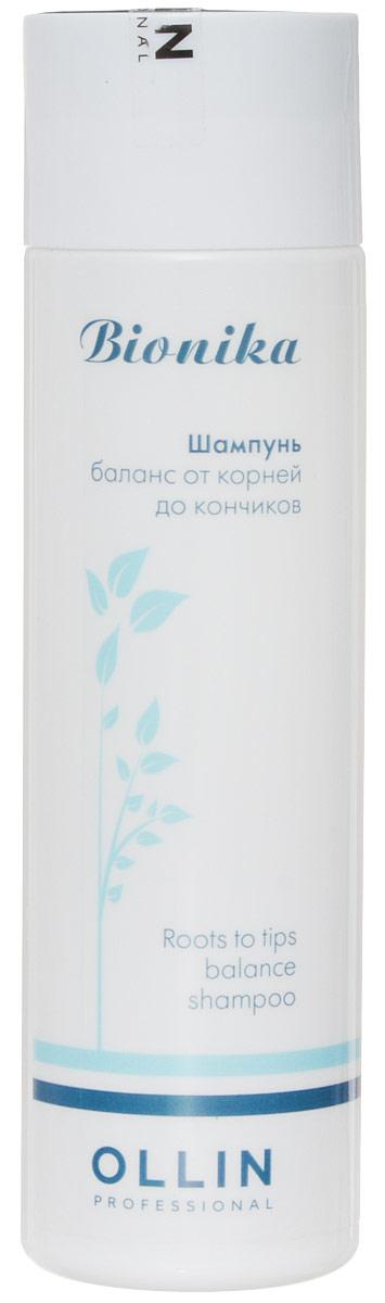 Ollin Шампунь Баланс от корней до кончиков BioNika Roots To Tips Balance Shampoo 250 млFS-00103Шампунь, нормализующий баланс кожи головы. Нежно и эффективно очищает волосы и кожу головы. Удаляет избыточны секрет сальных желез, препятствует его повторному образованию. Активные компоненты шампуня нормализуют работу сальных желез, увлажняют, питают волосы по длине, препятствуют сечению волос.Объём: 250 мл