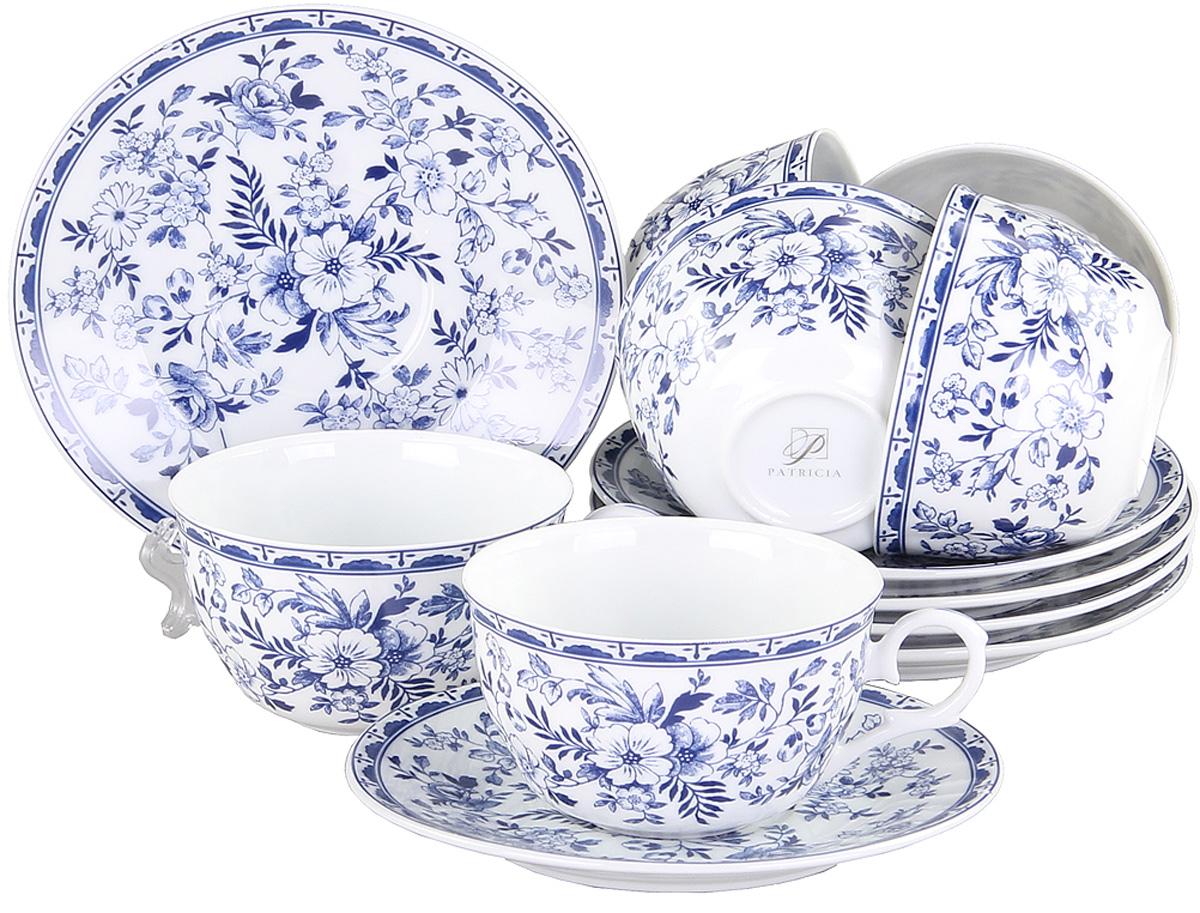 Набор чайный Patricia Флер, 12 предметовIM56-0222Чайный набор Patricia Флер состоит из 6 чашек и 6 блюдец. Изделия выполнены из высококачественного фарфора и оформлены ярким цветочным рисунком. Такой набор изящно дополнит сервировку стола к чаепитию. Не рекомендуется мыть в посудомоечной машине и использовать в микроволновой печи. Объем чашки: 250 мл.