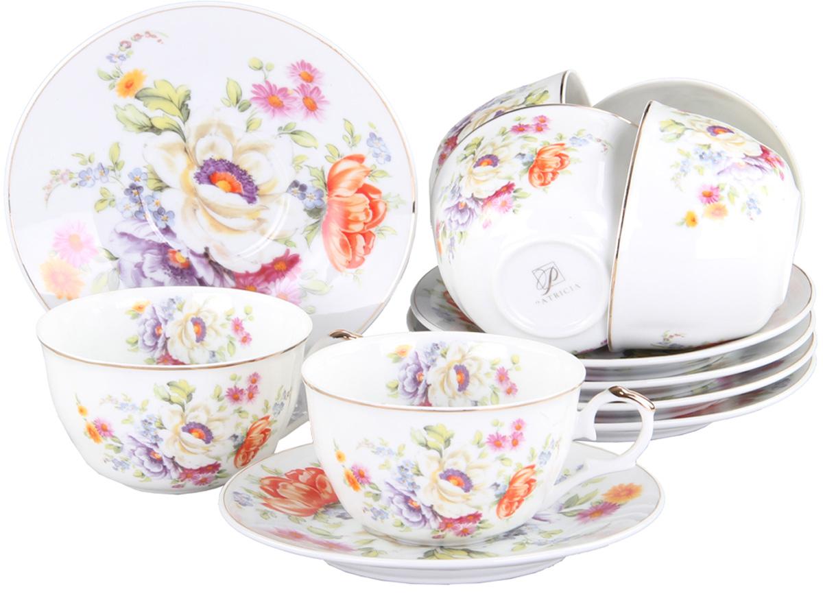 Чайный сервиз Patricia, 12 предметов. IM56-1222115610Чайный набор выполнен из фарфора высшего качества,украшен ярким цветочным узором. Этот набор обязательно впишется в любой уголок вашей кухни и станет стильным дополнением к ней.