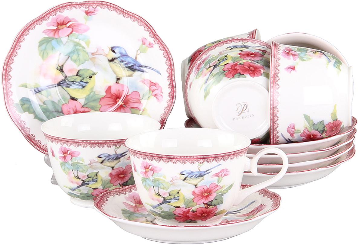 Набор чайный Patricia Дикая роза, 12 предметовIM56-1422Чайный набор Patricia Дикая роза состоит из 6 чашек и 6 блюдец. Изделия выполнены из высококачественного фарфора и оформлены ярким цветочным рисунком и изображением птиц. Такой набор изящно дополнит сервировку стола к чаепитию. Не рекомендуется мыть в посудомоечной машине и использовать в микроволновой печи. Объем чашки: 250 мл.