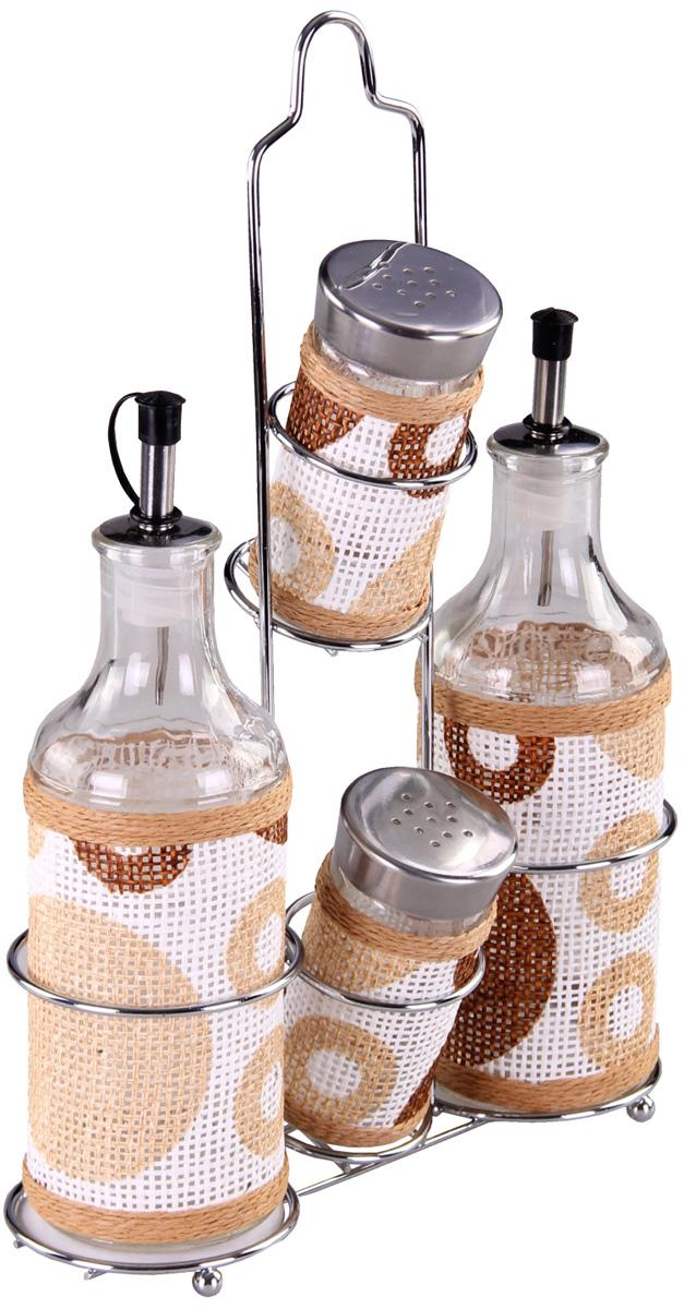 Набор для специй Patricia, 4 предмета. IM99-3920IM99-3920Набор для специй на металлической подставке выполнен из стекла и плети. В них можно хранить как соль или сахар, так и различные специи.