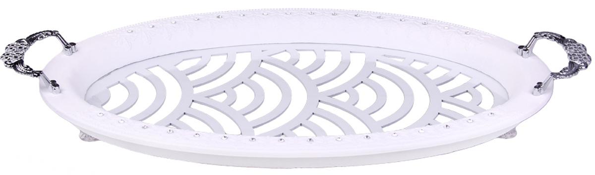 Поднос овальный Patricia, с ручками, 51х35 см. IM99-5308IM99-5308Поднос овальный с ручками выполнен из стекла и МДФ. Он просто не заменим при сервировке праздничного стола и приготовлении блюд. Поднос станет лучшим дополнением к кухонному интерьеру и выручит Вас в самых непредсказуемых ситуациях.
