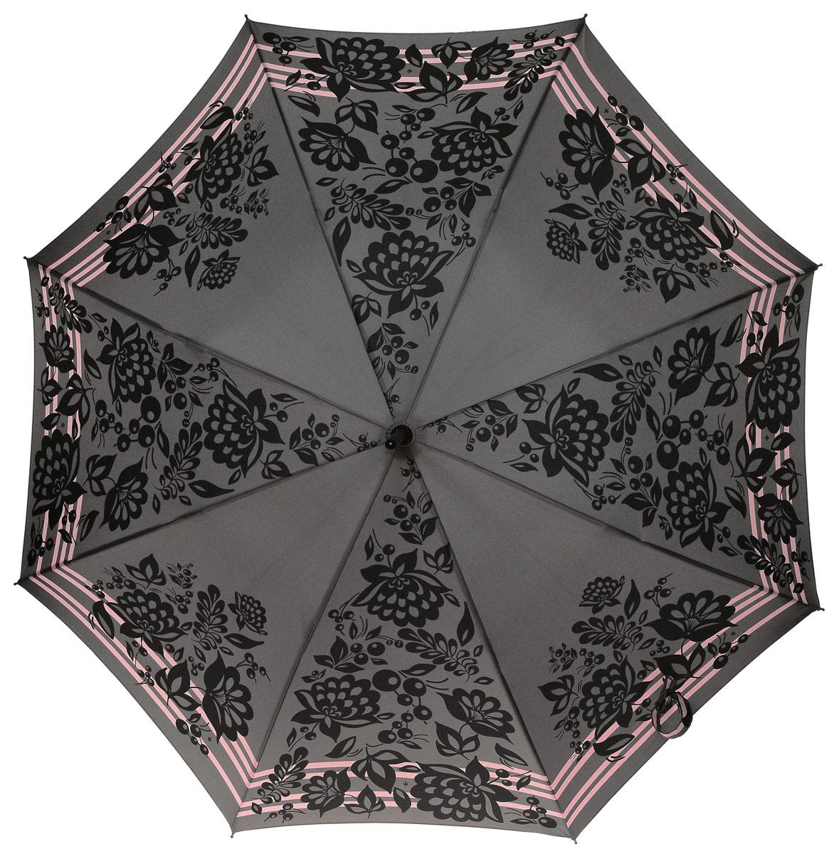Зонт-трость женский Fulton, механический, цвет: серый, черный. L056-28313.7-12 navyСтильный зонт-трость Fulton даже в ненастную погоду позволит вам оставаться стильной и элегантной. Каркас зонта включает 8 спиц из фибергласса и состоит из стержня, изготовленного из прочной и ветроустойчивой стали. Купол зонта выполнен из высококачественного полиэстера. Рукоятка закругленной формы, разработанная с учетом требований эргономики, изготовлена из пластика.Зонт механического сложения: купол открывается и закрывается вручную до характерного щелчка. Такой зонт не только надежно защитит вас от дождя, но и станет стильным аксессуаром, который идеально подчеркнет ваш неповторимый образ.
