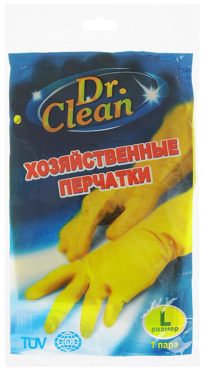 Перчатки хозяйственные Dr. Clean, цвет: желтый. Размер L44845Универсальные перчатки Dr. Clean произведены из высококачественного латекса, бесшовные, с рифленой поверхностью рабочих частей, которая позволяет удерживать мокрые предметы. Перчатки подходят для различных видов домашних работ. Изделия эластичны, хорошо облегают руку.