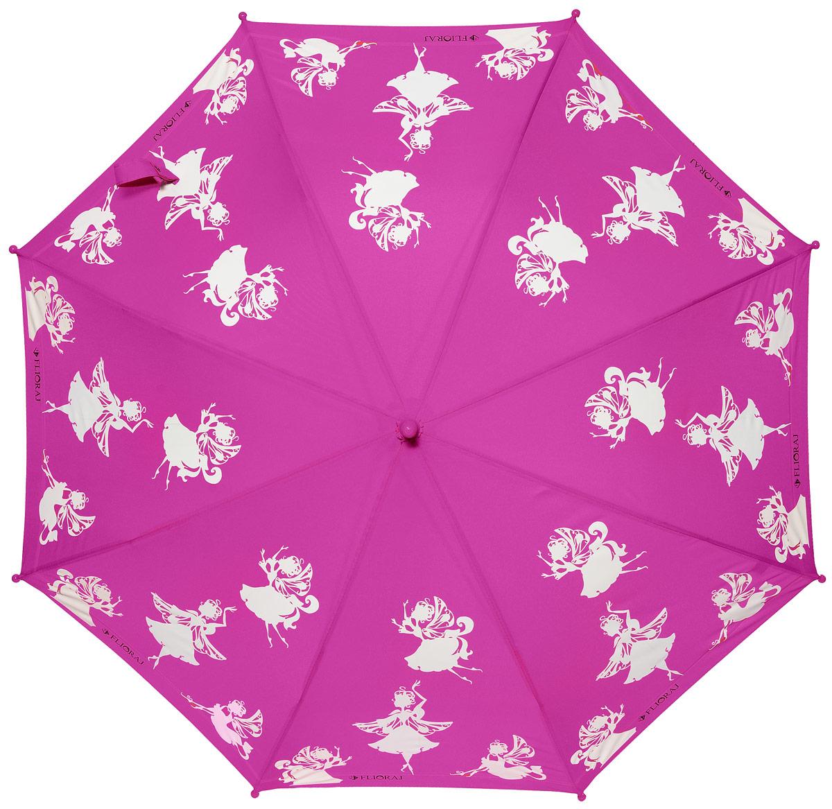 Зонт детский Flioraj, механика, трость, цвет: фуксия, белый. 0512033.7-12 navyОчаровательный зонт для детей доступен в нескольких расцветках. Маленькие феи будто случайно спустились на зонт и теперь кружатся в радужном танце. При намокании рисунок становится цветным. Зонт обязательно понравится вам и вашему ребенку! Предназначен для детей младшего и среднего школьного возраста. Безопасная технология открывания и закрывания. Спицы зонта изготовлены из долговечного, но легкого фибергласса, что делает зонт ветроустойчивым и прочным.