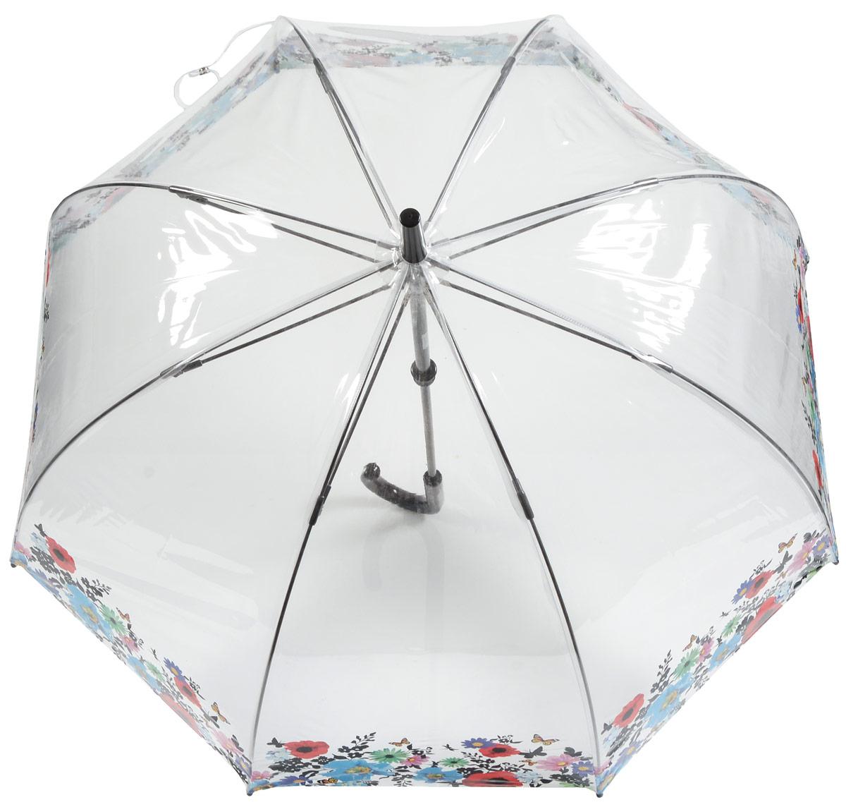 Зонт-трость женский Fulton, механика, цвет: прозрачный, мультиколор. L042-3165L042-3165 WildFlowersСтильный зонт-трость Fulton даже в ненастную погоду позволит вам оставаться стильной и элегантной. Каркас зонта включает 8 спиц из фибергласса и состоит из стержня, изготовленного из прочной и ветроустойчивой стали. Купол зонта выполнен из качественного ПВХ. Рукоятка закругленной формы, разработанная с учетом требований эргономики, изготовлена из пластика. Зонт механического сложения: купол открывается и закрывается вручную до характерного щелчка. Такой зонт не только надежно защитит вас от дождя, но и станет стильным аксессуаром, который идеально подчеркнет ваш неповторимый образ.