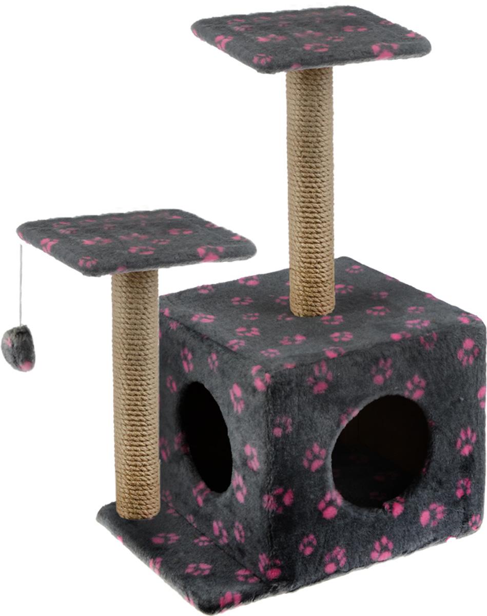 Игровой комплекс для кошек Меридиан, с домиком и когтеточкой, цвет: серый, бежевый, розовый, 45 х 47 х 75 смД131 Ла_светло-серый, розовыйИгровой комплекс для кошек Меридиан выполнен из высококачественного ДВП и ДСП и обтянут искусственным мехом. Изделие предназначено для кошек. Ваш домашний питомец будет с удовольствием точить когти о специальный столбик, изготовленный из джута. А отдохнуть он сможет либо на полках разной высоты, либо в расположенном внизу домике. Также комплекс оснащен подвесной игрушкой, которая привлечет вашего питомца. Общий размер: 45 х 47 х 75 см. Размер домика: 45 х 36 х 32 см. Высота полок (от пола): 75 см, 45 см. Размер полок: 26 х 26 см.