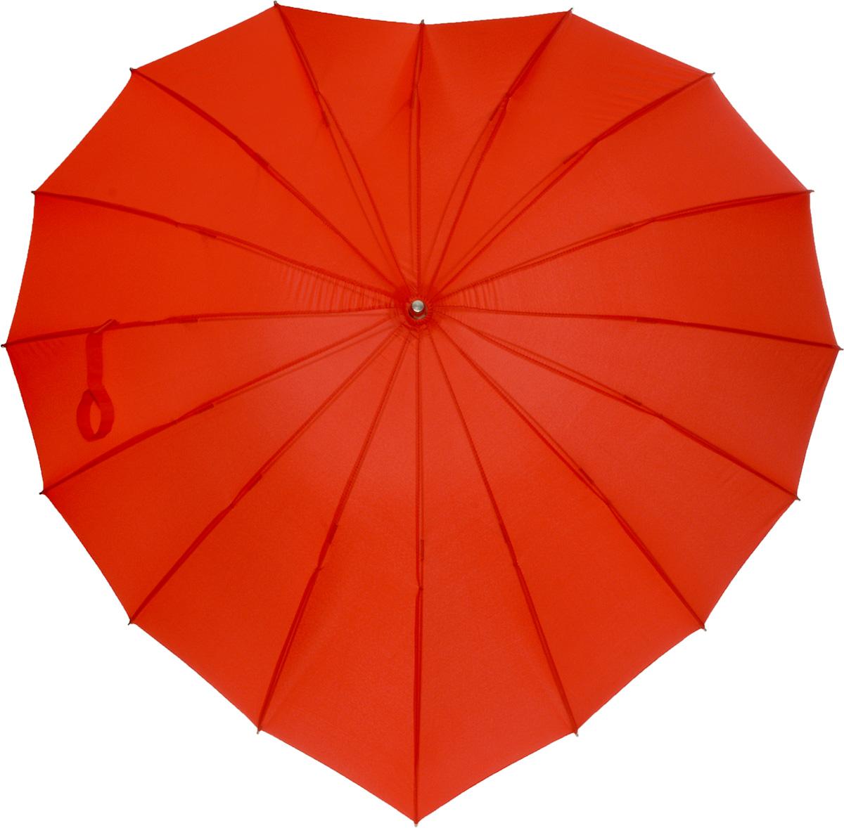 Зонт женский Эврика Сердце, механика, трость, цвет: красный. 9316045100948B/32793/5900NЗонт имеет механический тип сложения: открывается и закрывается вручную до характерного щелчка. Удобная ручка выполнена из пластика.