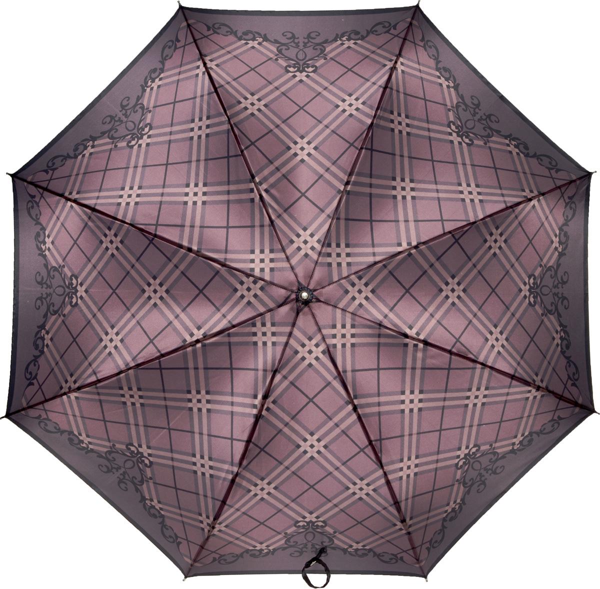 Зонт-трость женский Fabretti, механика, цвет: фиолетовый. 16021602Женский зонт-трость от итальянского бренда Fabretti. Конструкция модели - механика. Эксклюзивный дизайнерский принт зонта сделает вас неотразимыми в любую непогоду! Материал купола - полиэстер. Он невероятно изящен, приятен на ощупь, обладает высокой прочностью, а также устойчив к выцветанию. Эргономичная ручка сделана из высококачественного пластика!