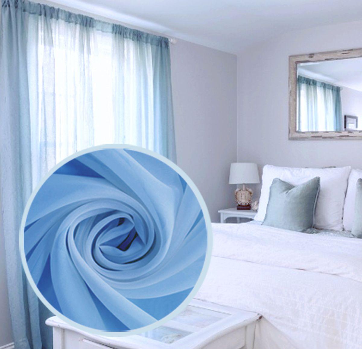 Вуаль Amore Mio Однотонная, 300х270 см, цвет: голубой. 7538675386Однотонная нежная легкая вуаль голубого цвета - цвета летнего ясного неба. На шторной ленте. Яркий акцент для ваших окон! В комплект входит: Вуаль 300х270