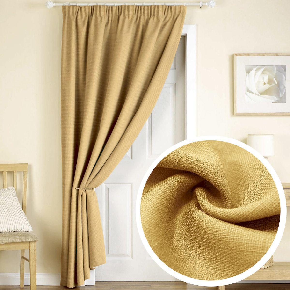 Штора Amore Mio Лен, на ленте, цвет: желтый, высота 270 см77506Штора Amore Mio из плотной ткани, имитирующей натуральный лен, придаст современный вид любому интерьеру. Изготовлена из 100% полиэстера. Полиэстер - вид ткани, состоящий из полиэфирных волокон. Ткани из полиэстера легкие, прочные и износостойкие. Такие изделия не требуют специального ухода, не пылятся и почти не мнутся. Крепление к карнизу осуществляется при помощи вшитой шторной ленты.
