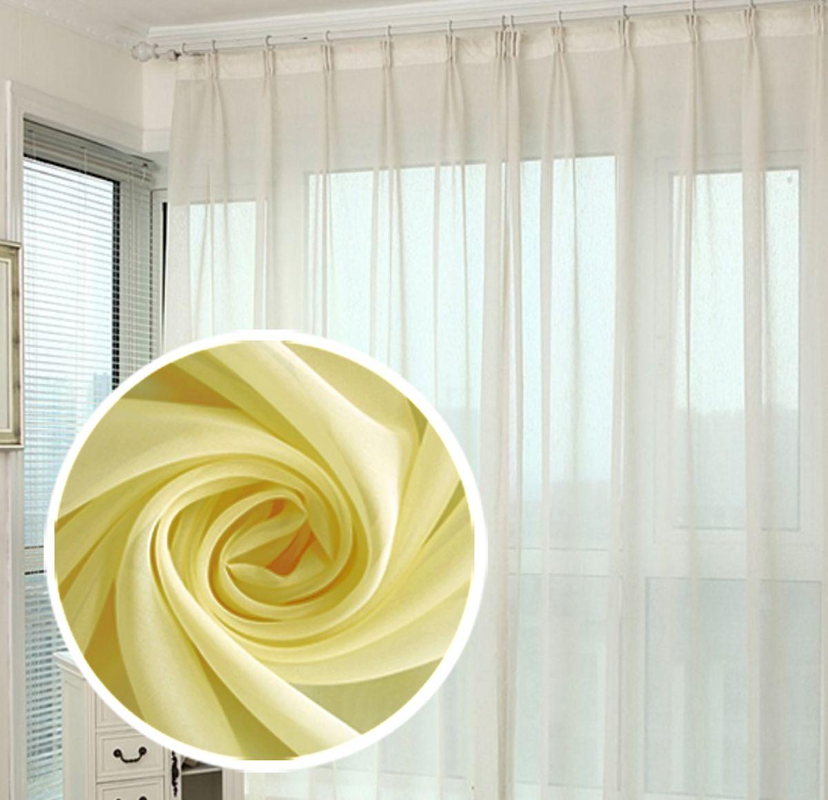 Тюль Amore Mio Однотонная, на ленте, цвет: желтый, высота 290 см78562Тюль Amore Mio нежного цвета в классическом однотонном исполнении изготовлен из 100% полиэстера. Воздушная ткань привлечет к себе внимание и идеально оформит интерьер любого помещения. Полиэстер - вид ткани, состоящий из полиэфирных волокон. Ткани из полиэстера легкие, прочные и износостойкие. Такие изделия не требуют специального ухода, не пылятся и почти не мнутся. Крепление к карнизу осуществляется при помощи вшитой шторной ленты.