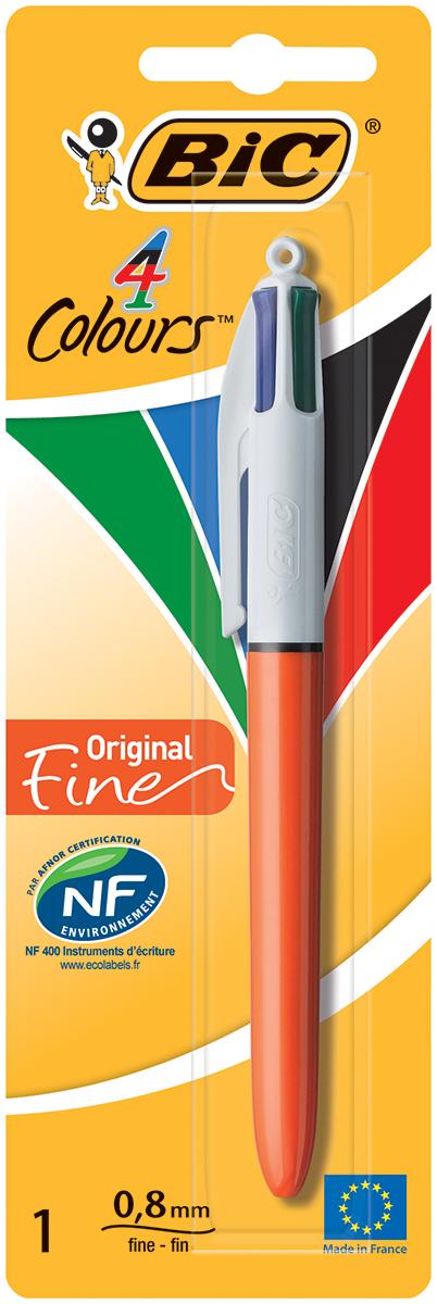 Bic Ручка шариковая Colours Fine 4 в 1 цвет корпуса оранжевыйB802078Автоматическая шариковая ручка Bic Colours Fun - это четырехцветная ручка, позволяющая писать любым из четырех цветов: черным, синим, красным или зеленым. Удобный автоматический механизм, утолщенный корпус.