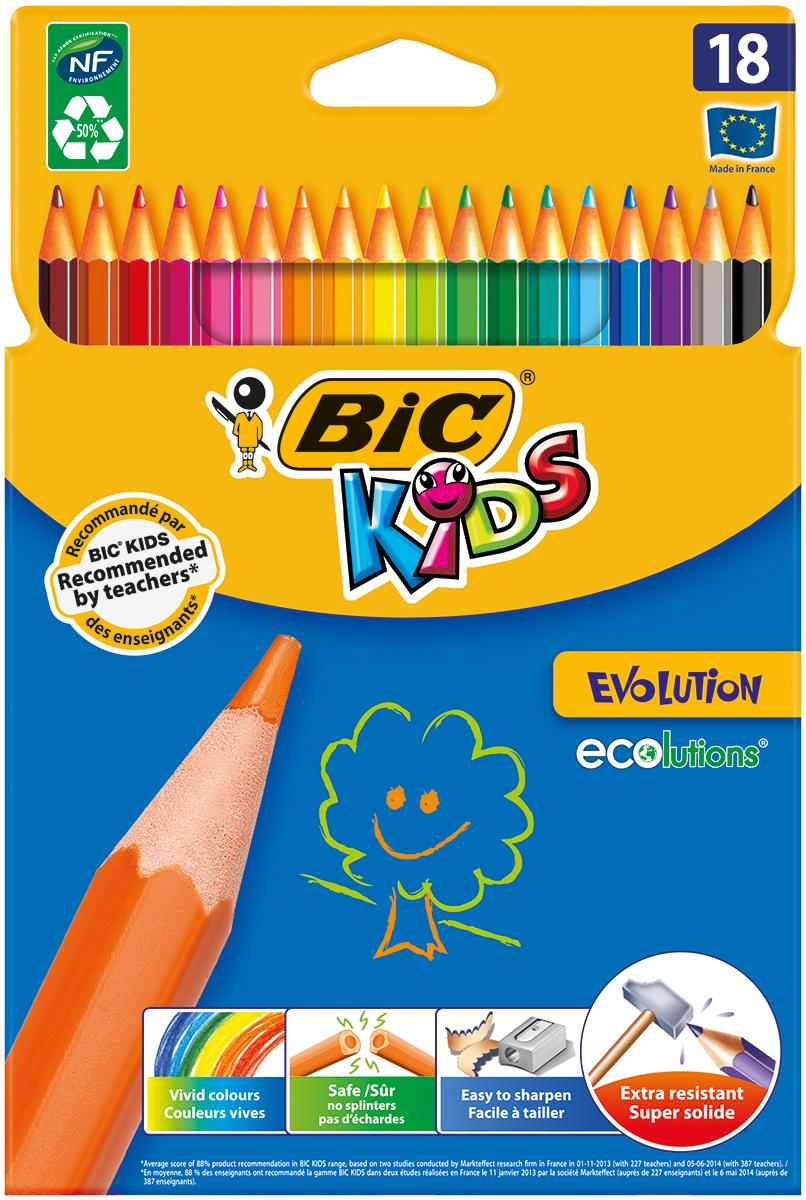 Bic Набор цветных карандашей Evolution 18 цветовB829728Набор цветных карандашей Bic Evolution идеален для ежедневного использования маленькими художниками! В наборе карандаши 18 ярких цветов. Ультрапрочные цветные карандаши изготовлены без использования древесины. Цветной стержень обеспечивает отличную степень закрашивания.