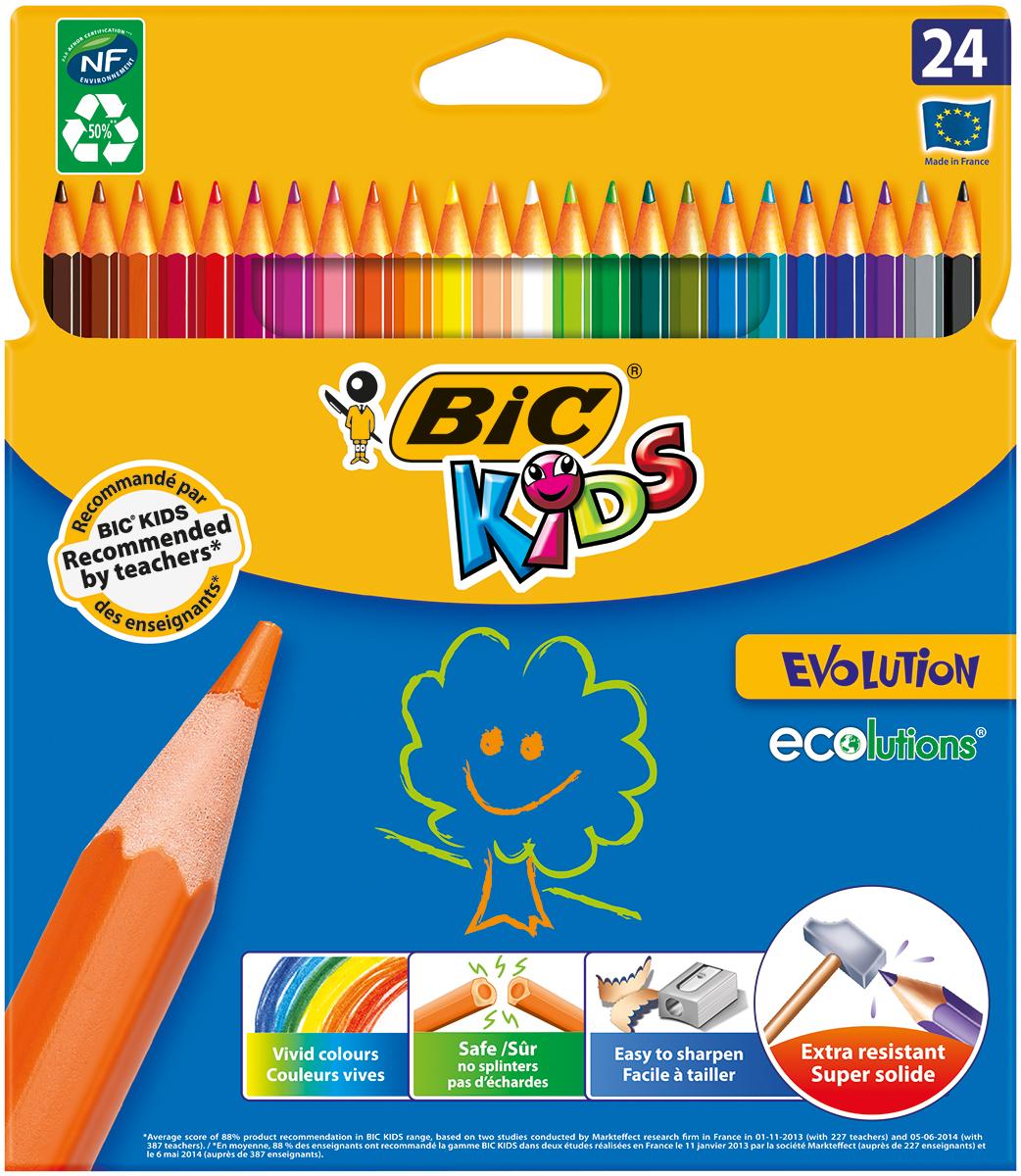 Bic Набор цветных карандашей Evolution 24 цвета610842Набор цветных карандашей Bic Evolution идеален для ежедневного использования маленькими художниками!В наборе карандаши 24 ярких цветов. Ультрапрочные цветные карандаши изготовлены без использования древесины. Цветной стержень обеспечивает отличную степень закрашивания.