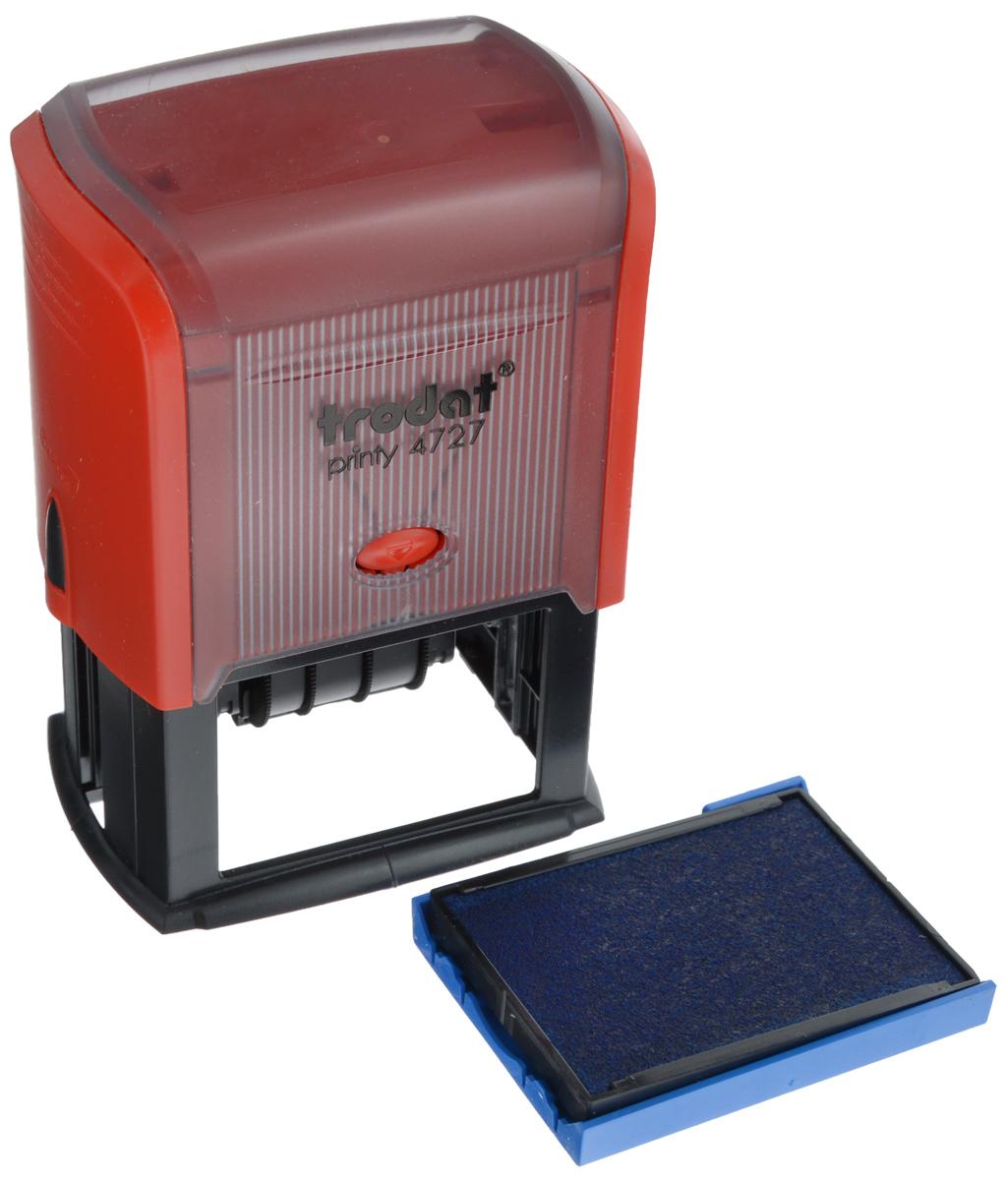 Trodat Датер со свободным полем 60 х 40 мм4727Датер Trodat имеет прочный пластиковый корпус с автоматическим окрашиванием. Дата находится в центре, вокруг даты свободное поле под изготовление клише. Подходит для работы в бухгалтерии, на складе, в банке. Размер свободного поля - 60 мм х 40 мм. В комплект входит сменная подушка, цвет синий.