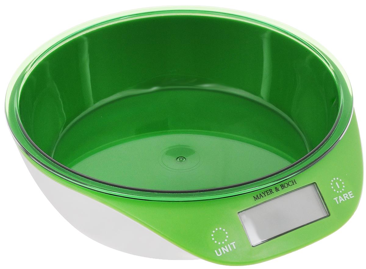 Весы кухонные Mayer & Bosh, с чашей, цвет: зеленый, белый, до 5 кг. 1095510955Кухонные весы Mayer & Boch изготовлены из высококачественного пластика. Изделие оснащено акриловой панелью и съемной чашей. Весы имеют цифровой LCD-дисплей с функцией автоматического отключения и тарокомпенсации, а также мощный процессор и тензометрический датчик высокой прочности. Кухонные весы Mayer & Boch пригодятся на любой кухне и станут прекрасным дополнением к набору вашей мелкой бытовой техники. Используя их, вы сможете готовить блюда, точно следуя предложенной рецептуре, что немаловажно при приготовлении сложных блюд, соусов и выпечки. Оригинальные, с ярким дизайном, такие весы украсят любую кухню и принесут радость каждой хозяйке. Нагрузка: 2-5000 г. Питание: ААА х 2 (входят в комплект). Размер весов: 20 х 19 х 5,5 см. Размер чаши: 18 х 18 х 4,5 см.