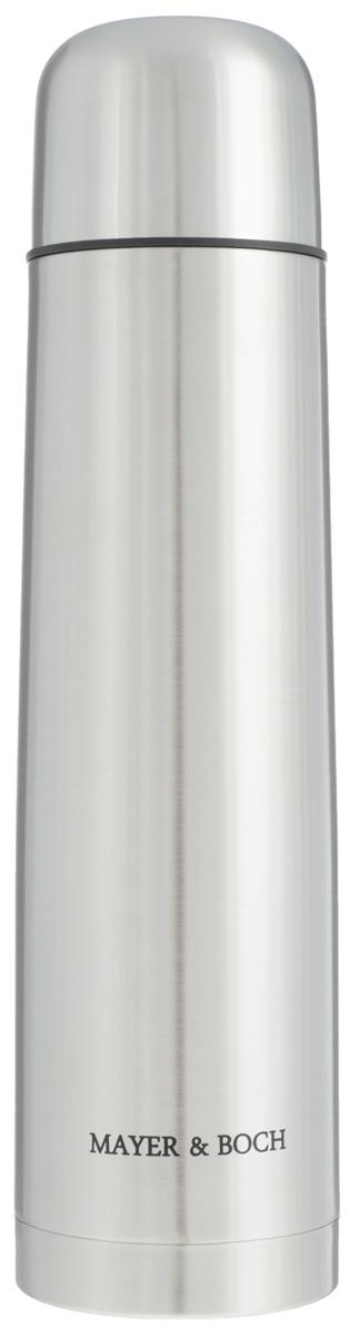 Термос Mayer & Boch, 1 л. 2588925889Термос Mayer & Boch выполнен из качественной нержавеющей стали, которая не вступает в реакцию с содержимым термоса и не изменяет вкусовых качеств напитка. Двойная стенка из нержавеющей стали сохраняет температуру на более длительный срок. Вакуумный закручивающийся клапан предохраняет от проливаний, а удобная кнопка-дозатор избавит от необходимости каждый раз откручивать крышку. Крышку можно использовать как чашку. Данная модель термоса прочная, долговечная и в тоже время легкая. Стильный металлический термос понравится абсолютно всем и впишется в любой интерьер кухни. Не рекомендуется мыть в посудомоечной машине. Диаметр горлышка: 5 см. Диаметр основания термоса: 8 см. Высота термоса: 32 см.