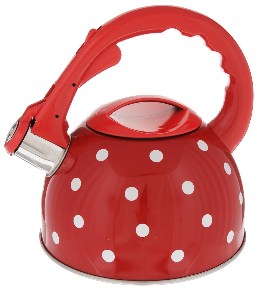 Чайник Mayer & Boch Горох, со свистком, 2,5 л. 2604694672Чайник со свистком Mayer & Boch изготовлен из высококачественной нержавеющей стали, что обеспечивает долговечность использования. Носик чайника оснащен откидным свистком, звуковой сигнал которого подскажет, когда закипит вода. Фиксированная ручка, изготовленная из пластика и цинка, снабжена клавишей для открывания носика, что делает использование чайника очень удобным и безопасным.Чайник Mayer & Boch - качественное исполнение и стильное решение для вашей кухни. Подходит для всех типов плит, включая индукционные. Можно мыть в посудомоечной машине. Высота чайника (с учетом ручки): 22,5 см.Высота чайника (без учета ручки и крышки): 12 см.Диаметр чайника (по верхнему краю): 10 см.Диаметр основания: 19 см.