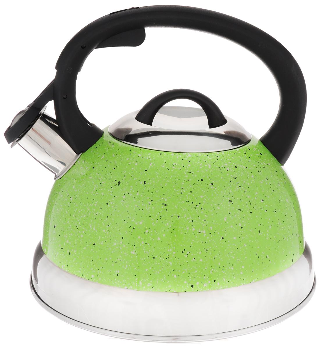 Чайник Mayer & Boch, со свистком, цвет: салатовый, 2,6 л. 2566394672Чайник со свистком Mayer & Boch изготовлен из высококачественной нержавеющей стали, что обеспечивает долговечность использования. Носик чайника оснащен откидным свистком, звуковой сигнал которого подскажет, когда закипит вода. Фиксированная ручка, изготовленная из пластика, снабжена клавишей для открывания носика, что делает использование чайника очень удобным и безопасным.Чайник Mayer & Boch - качественное исполнение и стильное решение для вашей кухни. Подходит для всех типов плит, включая индукционные. Можно мыть в посудомоечной машине. Высота чайника (с учетом ручки): 20,5 см.Диаметр чайника (по верхнему краю): 10 см.Диаметр основания: 21 см.