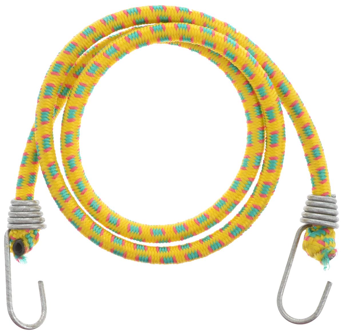 Резинка багажная МастерПроф, с крючками, цвет: желтый, зеленый, красный, 1 х 110 смAC.020023_желтый, зеленый, красныйБагажная резинка МастерПроф, выполненная из натурального каучука, оснащена специальными металлическими крючками, которые обеспечивают прочное крепление и не допускают смещения груза во время его перевозки. Изделие применяется для закрепления предметов к багажнику. Такая резинка позволит зафиксировать как небольшой груз, так и довольно габаритный. Температура использования: -15°C до +50°C. Безопасное удлинение: 60%. Диаметр резинки: 1 см. Длина резинки: 110 см.