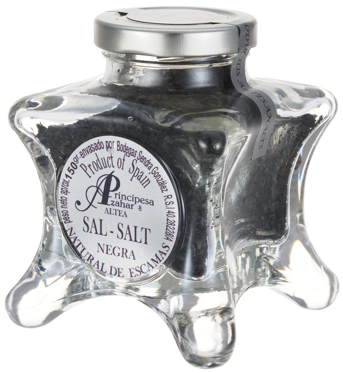 Principe de Azahar черная морская пищевая соль, 150 г0120710Пищевая натуральная морская соль Principe de Azahar от фермера Sendra Gonzalez - это продукт для гурманов, а также любителей кулинарии с воображением. Она окрашена чернилами морской каракатицы. Морская соль полезнее обычной поваренной, так как содержит высокую концентрацию магния и других полезных веществ.
