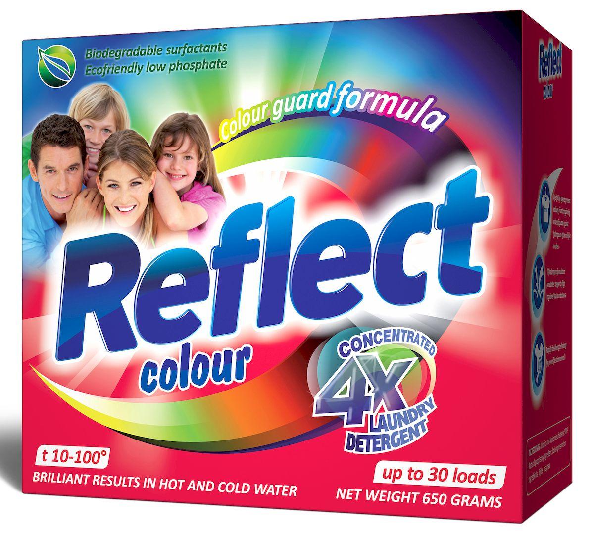 Стиральный порошок Reflect Colour, концентрированный, для цветных и темных тканей, 650 г790009Концентрированный стиральный порошок Reflect Color предназначен для стирки цветных и темных тканей. Двойная степень защиты цвета сохраняет все краски цветного и темного белья, защищает от ультрафиолета. Особенности порошка Reflect Color: - обладает высокой моющей способностью в широком диапазоне температур (10°C-100°C), - предупреждает образование накипи на водонагревательном элементе, - удаляет пятна и загрязнения различного происхождения, не повреждая структуру ткани, - в состав входит энзим (антипиллинг), который предотвращает образование ворсистости на ткани, - подходит для всех типов ткани, кроме шерсти и шелка, - универсальный - для машинной и ручной стирки.Товар сертифицирован.