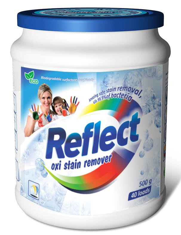 Кислородный пятновыводитель Reflect Oxi Stain Remover, 500 г15230Пятновыводитель и усилитель порошка на основе активного кислорода для стирки цветных и белых изделий из натуральных и смешанных волокон. Последние научные разработки. Взаимодействие активного кислорода с энзимами дает высокий результат по выведению глубоко въевшихся пятен с цветных и белых тканей. Рекомендован для усиления стирального порошка. Это супер концентрированная добавка к порошку, которая многократно увеличивает его действие, максимально удаляет пятна различного происхождения: жировые (оливковое и подсолнечное масло, жир), растительные (кофе, чай, вино), белковые (кровь, молоко, яйцо, соус).