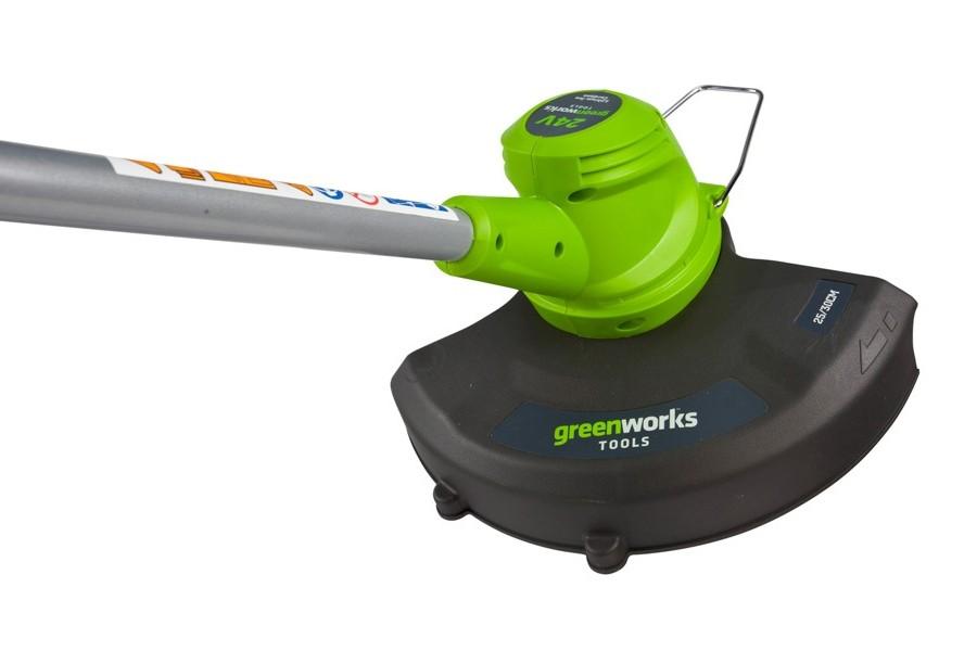 Триммер струнный GreenWorks 24В (без аккумуляторной батареи и зарядного устройства)2100107Аккумуляторная система 24В G24 Ширина скашивания: 30 см Нижнее размещение двигателя Леска 1,6 мм Возможность трансформации из триммера в кромкорез Работает с аккумуляторами Greenworks G24 (арт. 2902707, 2902807) и зарядным устройством G24С (арт. 2903607) Вес изделия без аккумулятора: 3,1 кг Гарантия 2 года